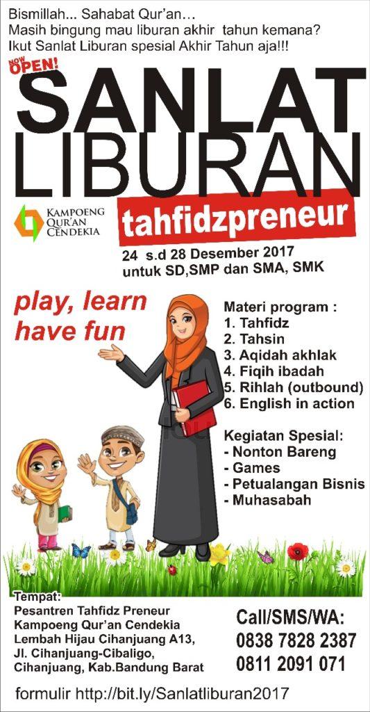 SANLAT LIBURAN TAHFIDZ-PRENEUR 24-28 Desember 2017